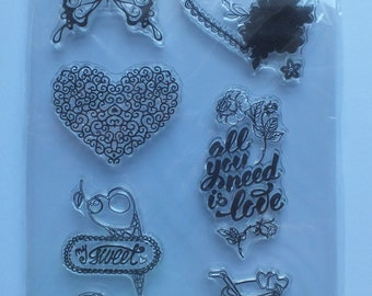 1 pack of clear stamps Butterflies and Hearts All you need is Love Thank you