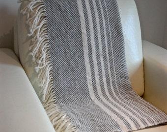 Handwoven Throw. Blanket. Wool. Handmade