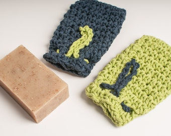 Sports Team Soap Saver Pair by Sam, USA Grown Cotton, Ready to Ship, US Shipping Included, Football, Seattle Seahawks