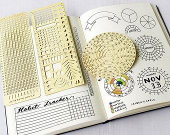 Opsommingsteken Journal essentiële Stencil ingesteld, cirkel grafiek raster grafiek Stencils - past A5 journal & Midori Regular (Essential - goud)