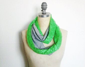 Infinity Scarf, Neon Green Lace Scarf, Boho Style, Ready to Ship