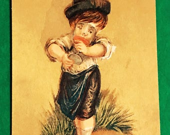 Victorian Trade Card 1800s, Little Boy Drinking Out Of Glass, E C Morrill, Dry And  Fancy Goods, Antique Paper Collectible