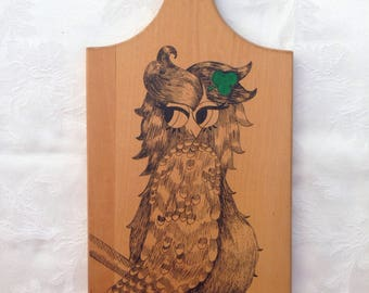 Wooden Cutting Board with Female Owl - Kitchen Decor