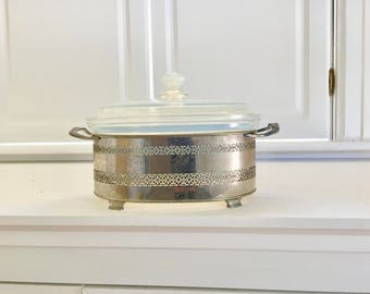 Vintage Pyrex Casserole Dish with Metal Stand Holder