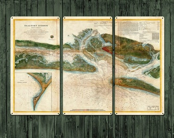 """Vintage Map of Beaufort Harbor METAL triptych 36x24"""" FREE SHIPPING"""