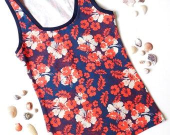 Organic Underwear, Hawaii Flower Tank Top, Cotton Tank Top, Organic Cotton Tank Top, Flower Print Tank , Printed Undershirt, Yoga Tank Top