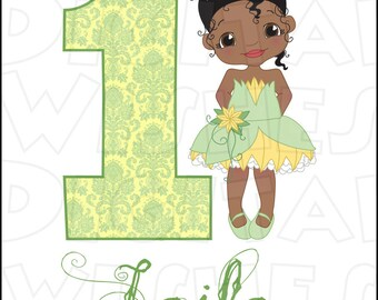 Little Tiana from Princess and the frog Birthday Image PERSONALIZED name any AGE digital iron on transfer clip art DIY for Shirt