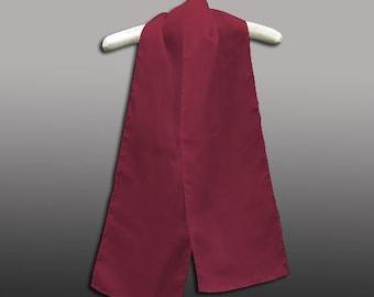 "Burgundy 100% Habotai Silk Scarf - 8""x 54"" - Dyed"