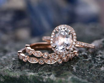 Morganite engagement ring set-handmade Solid 14k Rose gold ring-Real Diamond band-6x8mm Oval cut gemstone promise ring-3pcs Bridal Ring set