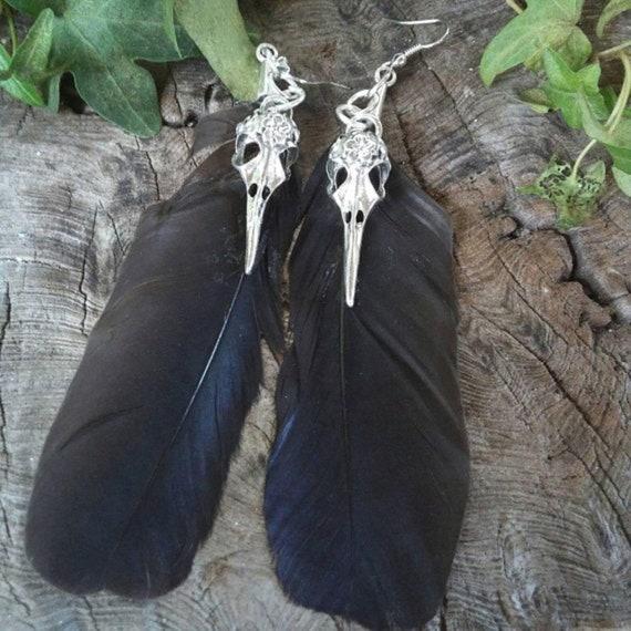 Crow Feather Earrings, Crow Skull Earrings, Long Feather Earrings, Handmade Earrings, Feather, Feathers, Feather Earrings
