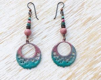 Hoop Earrings, Rhodonite Earrings, Gemstone Earrings, Hypoallergenic Niobium Earrings, Hippie Clothes, Boho Clothes, Boho Earrings Handmade