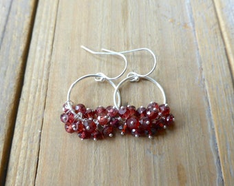 Blood Red Garnet Fringe Drop Chandelier Sterling Earrings