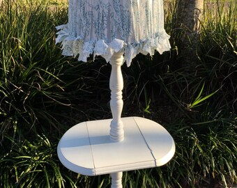 Shabby chic floor lamps etsy vintage wood drop leaf floor lamp table hand painted custom lampshade white shabby chic cottage aloadofball Images