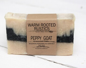 Handmade Peppy Goat Body Soap   Peppermint   Goats Milk   Activated Charcoal