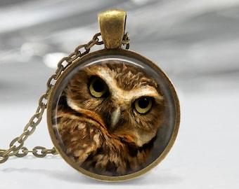 Owl Pendant, Bird Art Necklace, Owl Jewelry, Bird Art Pendant, Bird Jewelry, Owl Art, Owl Art Pendant, Owl Glass Pendant, Bronze Silver, 082