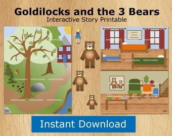 Goldilocks and the Three Bears, Pretend Play, Interactive Books, Printable Quiet Book, Childrens, Board Story