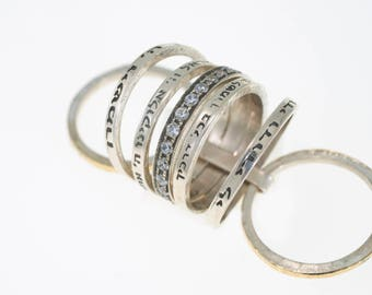 Gold&Silver Hebrew blessing Spinning Ring With Stones and four Different Saintly Quote