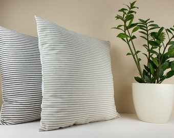 Beige pillow cover - Beige and White Stripe Linen Pillow Cover  - Decorative throw pillow - Decorative pillows for bed - Euro shams