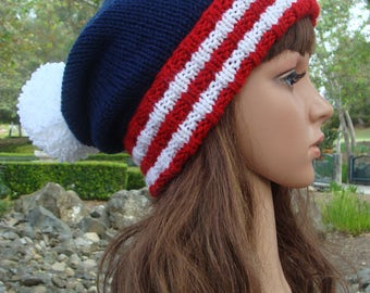 DIY - Knitting PATTERN  #155: 4th of July patriotic knit beanie pattern, American flag hat pattern, knit beanie pattern - Digital Pattern