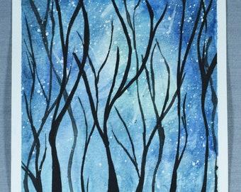 Creepy Tree Silhouette Original Artwork