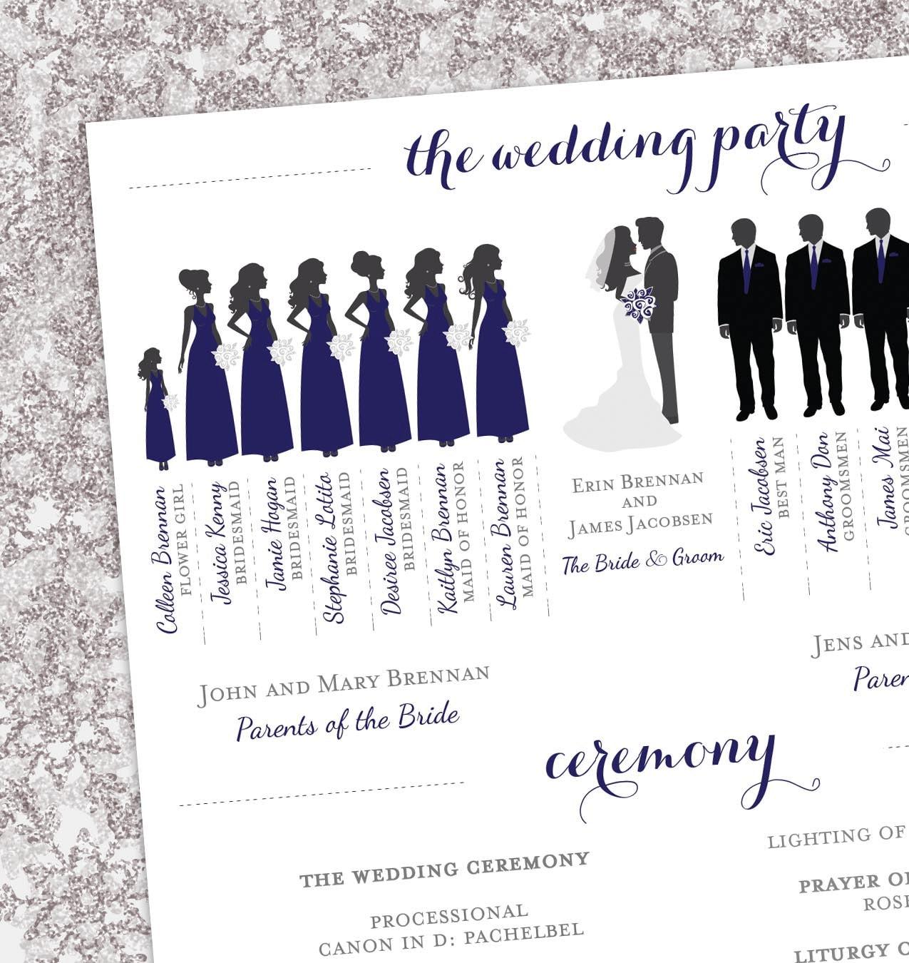 Perfect Winter Wedding Program Bridal Party Silhouettes Digital ZX68