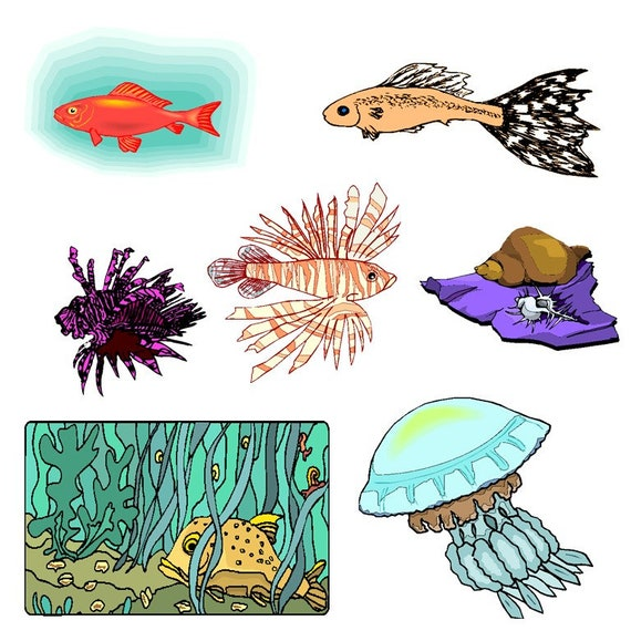 sea animal clipartsea animals clipart go sesea creatures rh etsy com sea animals clip art free sea animal clipart black and white