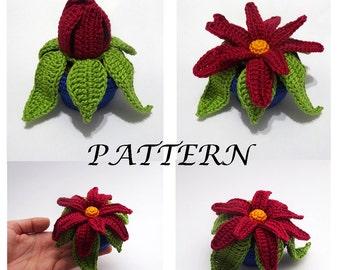 Crochet flower patterns,Flower pattern,Crochet flower,Crochet flower pattern,Crochet pattern,Home decor,minature flower pot,VekiCrochetLand