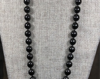 """Vintage jet bead necklacle with screw clasp 24"""""""