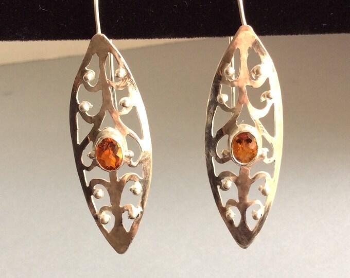 Boho Citrine Sterling silver earrings