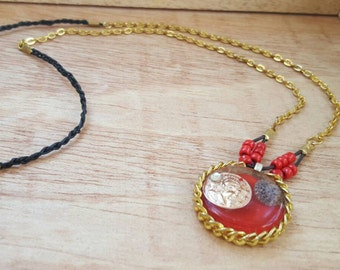 Red Necklace - Lucky Coin Charm - Resin Necklace - Good Luck Gift - Gifts for a Friend