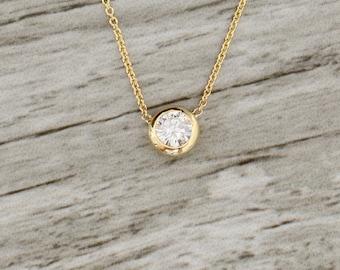 Bezel Set .50ct Diamond Necklace in Yellow