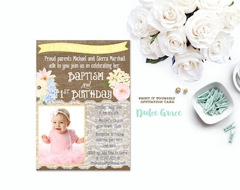 1st birthday and baptism invitation diy printable baptism pastel baptism 1st birthday invitation diy printable baptism invitation first birthday photo invite filmwisefo