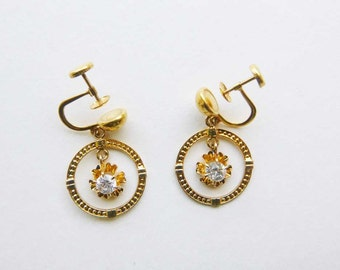 Retro 10K yellow gold circle hoop earrings with white sapphire gems screw back non-pierced