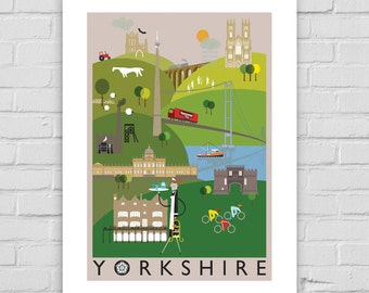 Yorkshire County Illustration Print A4/A3/A2 poster illustrated, Whitby, York, Emley Moor, Yorkshire Tea, Skipton, Bettys, Tour de Yorkshire