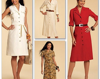 OUT of PRINT McCall's Pattern M5847 Misses' Shirtdresses In 3 Lengths and Sash