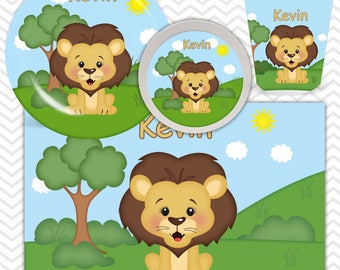 Lion Plate, Bowl, Cup, Placemat - Personalized Zoo Dinnerware for Kids - Custom Tableware