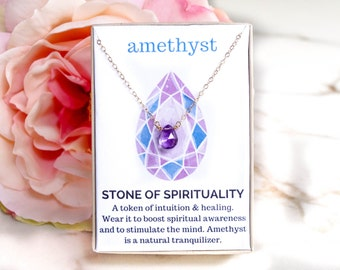 Amethyst Necklace / Healing Crystal Jewelry / Gemstone Necklace / February Birthstone / Gift for Her / Bridesmaid Necklace / Dainty Necklace