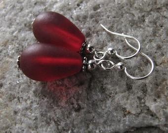 Red sea glass ear rings  beach glass jewelry  earrings-bridesmaid earrings- teardrop  earrings