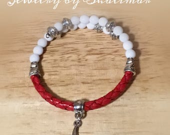 Red Leather Wrist Wrap with Starfish