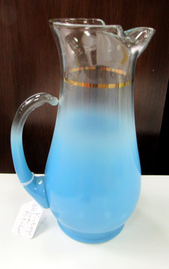 Blue  glass cocktail pitcher