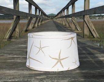 Coastal lampshade etsy modified custom white drum lampshade in starfish slubby linen aloadofball Choice Image