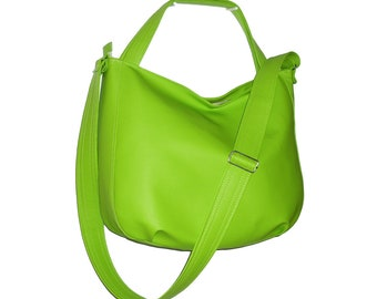 lime green crossbody bag, lime green hobo bag, lime leather bag, lime green faux leather bag, lime green crossbody tote, lime green purse,