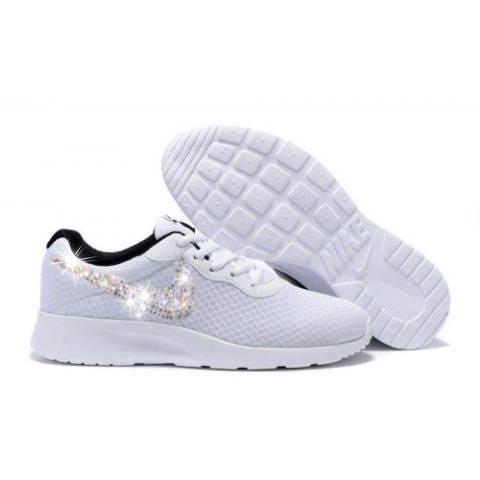 616572cca Swarovski Nike Shoes Women s White Nike Tanjun Customized with ...