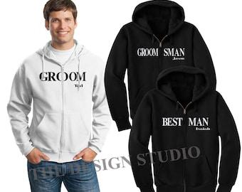 Groomsman Sweatshirt, Groom Hoodie, Bridesmaids Hoodies, Bridal Sweatshirts, Bachelorette Hoodies, Full zip hoodies, Entourage Hoodie