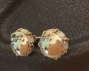 "Vintage 70's  ""ROUND CUFFLINKS"" Bold and Chunky in Gold Toned"