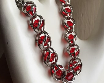Swarovski Lt. Siam (Red)Crystal Captured Chainmaille Bracelet