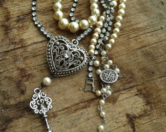 Upcycled Vintage Heart and Key Assemblage Necklace,Vintage Rhinestones and Pearl Assemblage,OOAK,Repurposed