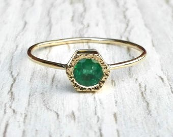14k gold Emerald ring, natural Emerald ring, Green Gemstone ring, Dainty ring, Hexagon, Engagement ring, fine jewelry