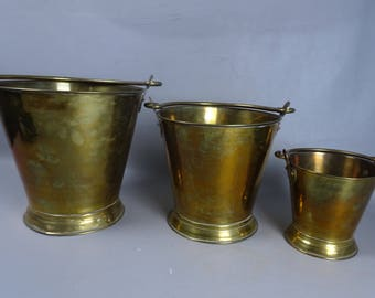 Set of 3 Yellow copper buckets-years 60/70