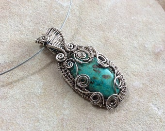 Wire Wrapped Sterling Silver Oval Chrysocolla Pendant